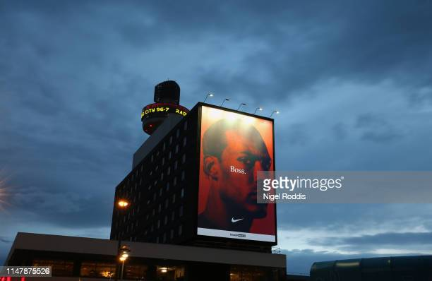Nike marks Liverpool's UEFA Champions League win with a tribute to Dutch defender Virgil van Dijk at Liverpool Lime Street on June 3 2019 in...