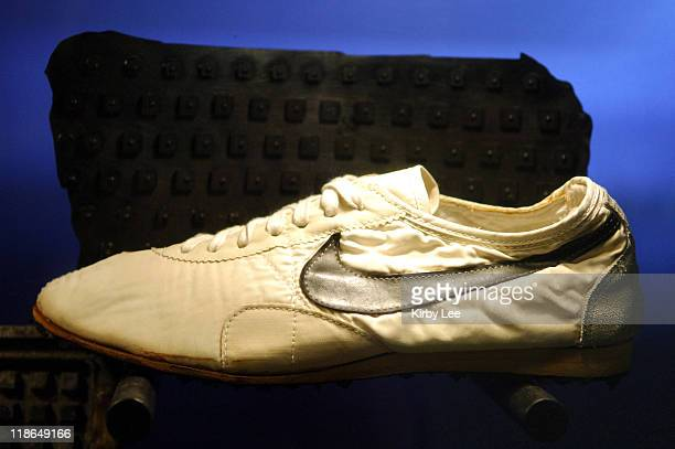Nike Moon Shoe worn by Mark Covert in the 1972 US Olympic Trials at Niketown Eugene in Eugene Ore The wafflesoled shoes were made from Bill Bowerman...
