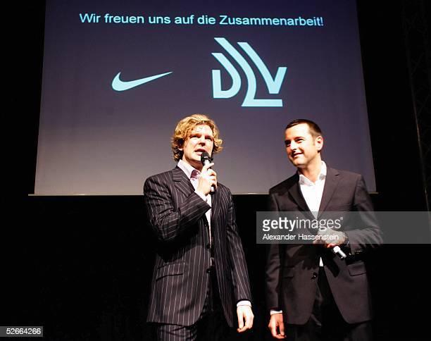 Nike Nacht der Leichtathletik 2005 Sindelfingen 190205 Michael STEINBRECHER und PierPaolo RIGHI/Geschaeftsfuehrer NfkeDeutschland GmbH
