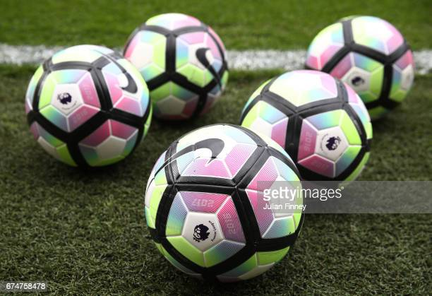 Nike Ordem practice balls are pictured prior to the Premier League match between Southampton and Hull City at St Mary's Stadium on April 29 2017 in...