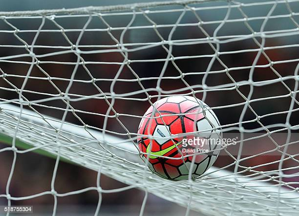 Nike Premier League ball on the roof of the goal during the Barclays Premier League match between Arsenal and Watford at Emirates Stadium on April...