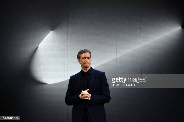 Nike president and CEO Mark Parker reveals their latest innovative sports products during an event in New York on March 16 2016 Nike revealed a...