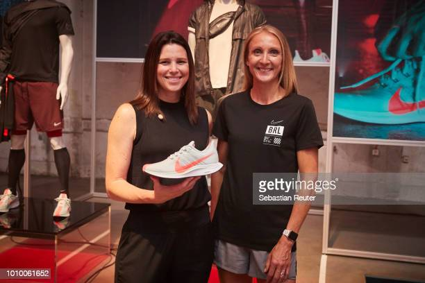 Nike product manager running Tara Shick and marathon world record holder Paula Radcliffe pose at the presentation at the Nike Fast Lab Berlin event...