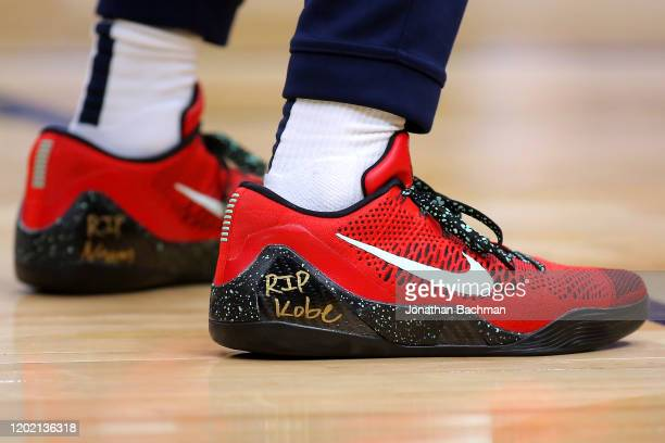 Nike shoe worn by Lonzo Ball of the New Orleans Pelicans memorializing former NBA player Kobe Bryant who was killed in a helicopter crash are...