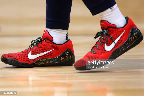 Nike shoe worn by Lonzo Ball of the New Orleans Pelicans memorializing former NBA player Kobe Bryant and his daughter Gianna who were killed in a...