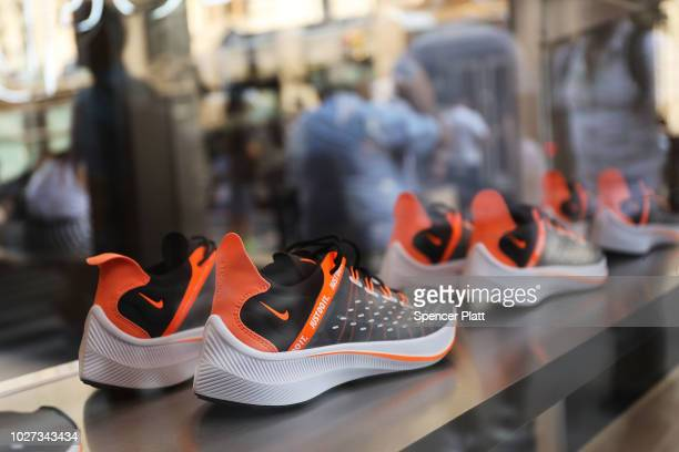 Nike shoes are displayed at a Nike store in Manhattan on September 5 2018 in New York New York A new ÒJust Do ItÓ TV commercial by Nike Inc will be...
