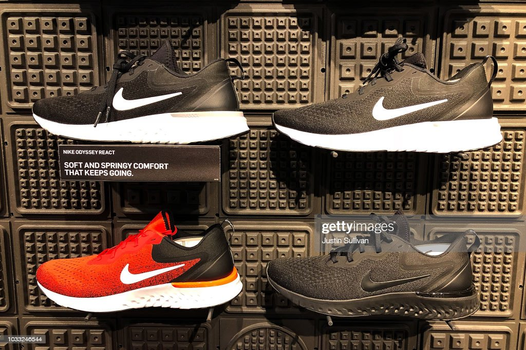 Nike shoes are displayed at a Nike store on September 14, 2018 in San Francisco, California. A week after Nike released a 'Just Do It' ad campaign that featured controversial former NFL player Colin Kaepernick, the company's stock hit an all-time high at the end of the trading day on Thursday.