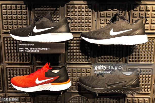 Nike shoes are displayed at a Nike store on September 14 2018 in San Francisco California A week after Nike released a 'Just Do It' ad campaign that...