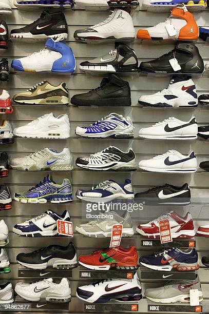 Nike shoes are displayed in a shoe store in the Manhattan borough of New York Monday June 27 2005 Nike Inc the world's biggest athleticshoe maker...