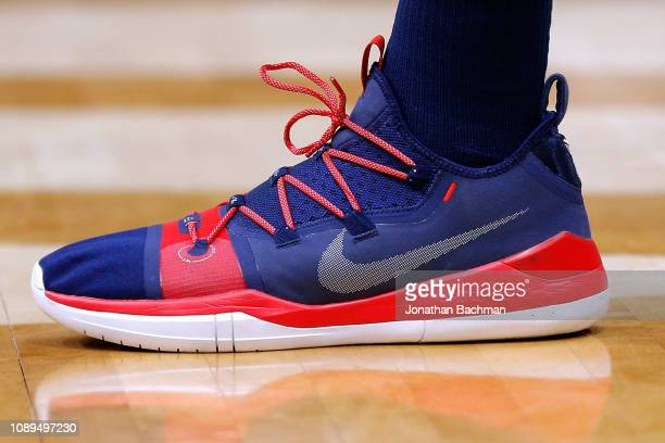 0bf47e864e9e Nike shoes are seen worn by Anthony Davis of the New Orleans Pelicans during  a game