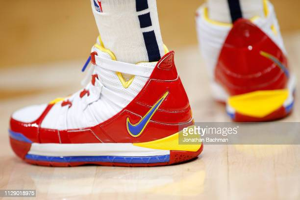 Nike shoes are seen worn by Ian Clark of the New Orleans Pelicans during the first half against the Minnesota Timberwolves at the Smoothie King...