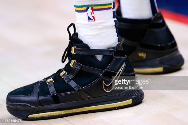 Nike shoes are seen worn by Ian Clark of the New Orleans Pelicans during the first half against the Los Angeles Lakers at the Smoothie King Center on...