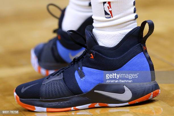 Nike shoes are seen worn by Ian Clark of the New Orleans Pelicans during the second half against the Utah Jazz at the Smoothie King Center on March...