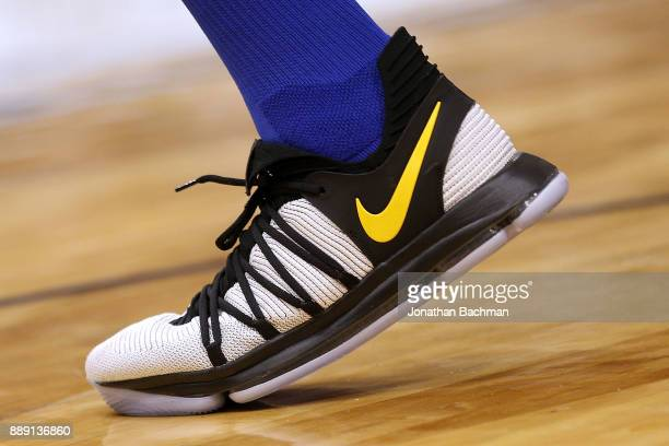 Nike shoes are seen worn by Kevin Durant of the Golden State Warriors during the second half of a game against the New Orleans Pelicans at the...