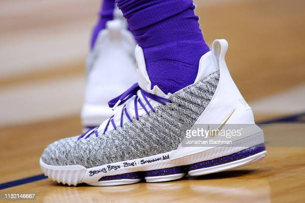 Nike shoes are seen worn by LeBron James of the Los Angeles Lakers during the first half against the New Orleans Pelicans at the Smoothie King Center...