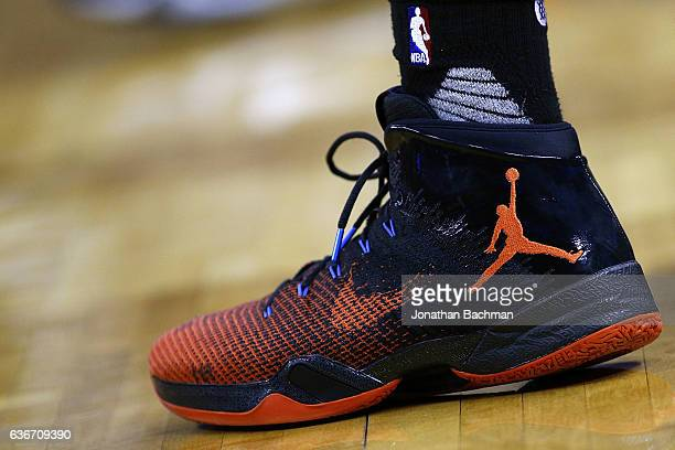 Nike shoes are seen worn by Russell Westbrook of the Oklahoma City Thunder during the first half of a game against the New Orleans Pelicans at the...