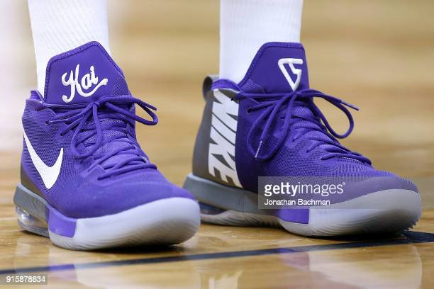 6bd22fa76459c3 Nike shoes are seen worn by Vince Carter of the Sacramento Kings during the  first half