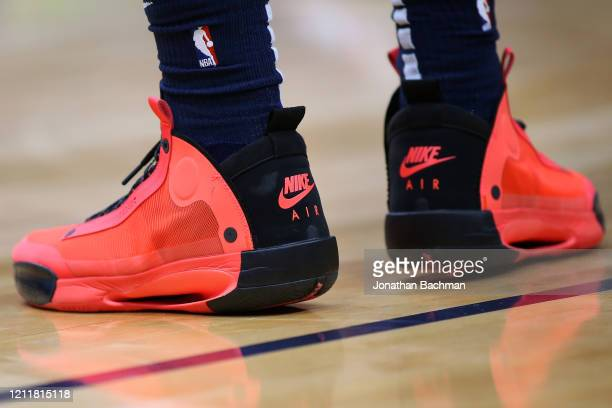 Nike shoes are seen worn by Zion Williamson of the New Orleans Pelicans against the Miami Heat during a game at the Smoothie King Center on March 06...