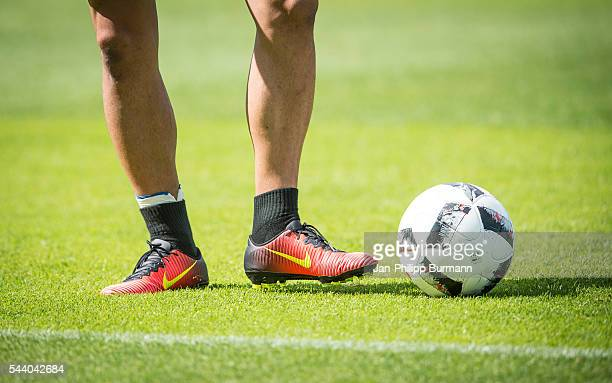Nike shoes of Genki Haraguchi of Hertha BSC during the training session at Schenkendorfplatz on July 01 2016 in Berlin Germany