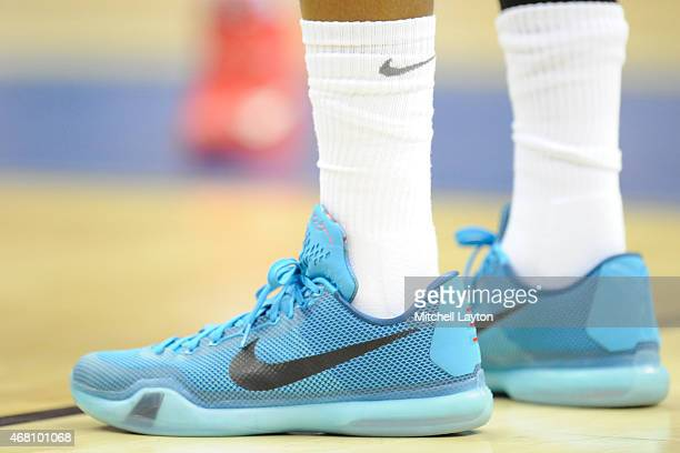 Nike shoes on a Dayton Flyers player during the third round of the 2015 NCAA Men's Basketball Tournament against the Oklahoma Sooners at the...