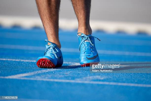 Nike shoes on the track while European Athletics Team Championships Super League Bydgoszcz 2019 - Day One at Zawisza Stadium on August 9, 2019 in...