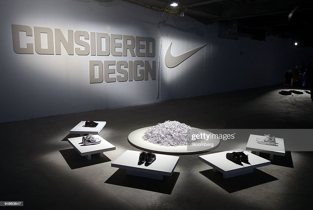 63e4a71825d Nike shoes sit on display during a news conference in New York, U.S. ...