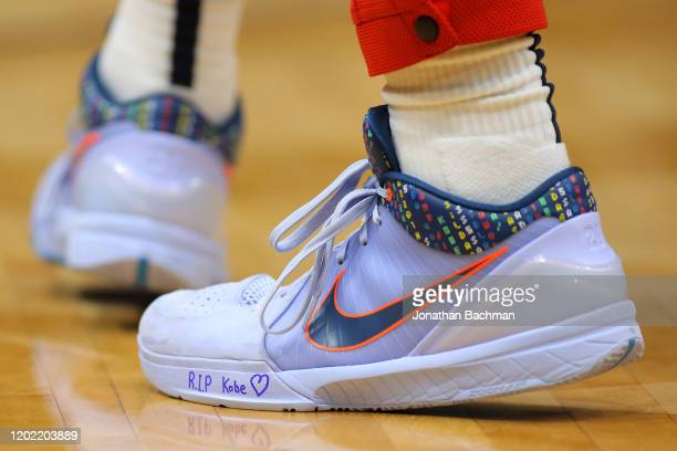 Nike shoes worn by Jaxson Hayes of the New Orleans Pelicans memorializing former NBA player Kobe Bryant are pictured during a game against the Boston...