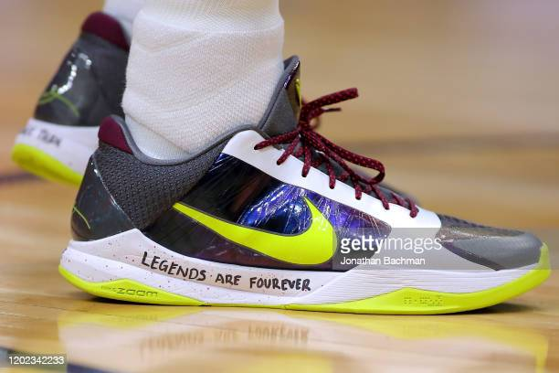 Nike shoes worn by Josh Hart of the New Orleans Pelicans memorializing former NBA player Kobe Bryant are pictured during a game against the Boston...