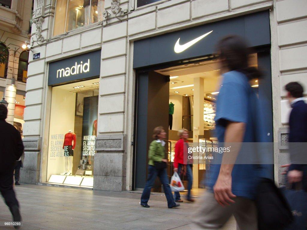 100% authentic 5fd6a 83123 Nike shop in Gran Via Street, Madrid.  News Photo
