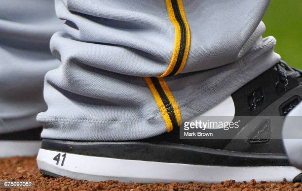 Nike show of Daniel Hudson of the Pittsburgh Pirates before the game between the Miami Marlins and the Pittsburgh Pirates at Marlins Park on April 28...