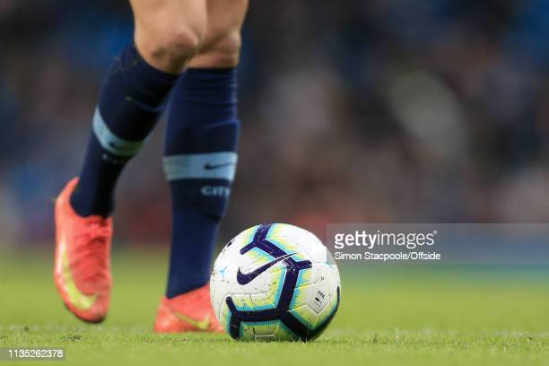 Nike socks boots and ball on show during the Premier League match between Manchester City and Cardiff City at the Etihad Stadium on April 3 2019 in...