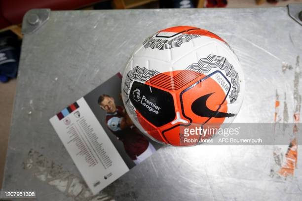 Nike Tunnel Vision ball in the away dressing room before the Premier League match between Burnley FC and AFC Bournemouth at Turf Moor on February 22...