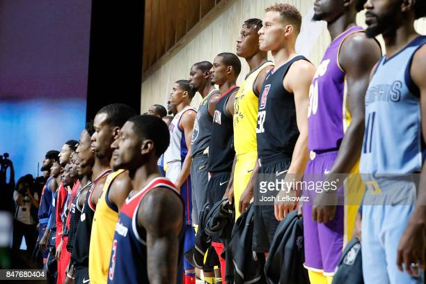 Nike unveils the new jerseys during the unveiling of the New NBA Partnership with Nike on September 15 2017 in Los Angeles California