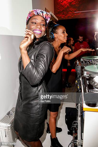 Nikeata Thompson and Hadnet Tesfai attend the Zalando Spring Summer 2016 Collection Launch with Anna Ewers on March 15 2016 in Berlin Germany