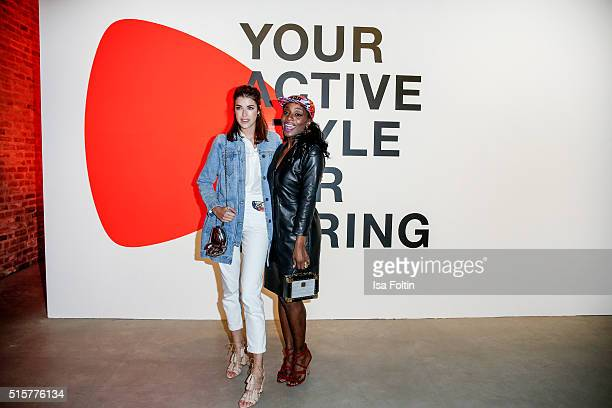 Nikeata Thompson and Marie Nasemann attend the Zalando Spring Summer 2016 Collection Launch with Anna Ewers on March 15 2016 in Berlin Germany