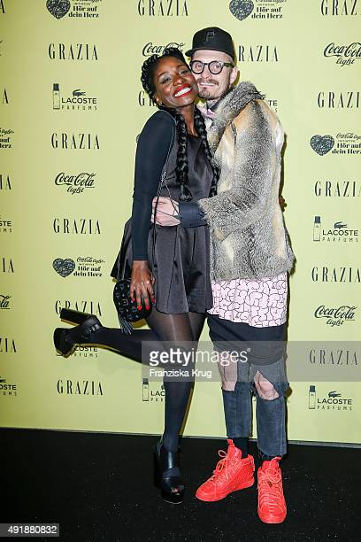 Nikeata Thompson and Patrick Mohr attend the 5th anniversary celebrations of the GRAZIA magazine at Grill Royal on October 08 2015 in Berlin Germany