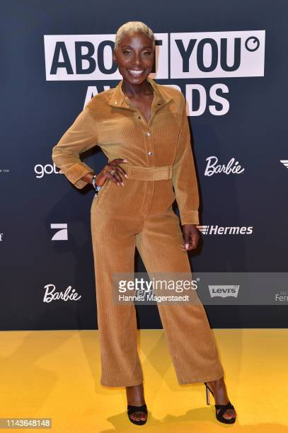 Nikeata Thompson arrives for the annual ABOUT YOU Awards at Bavaria Studios on April 18 2019 in Munich Germany