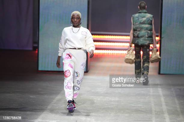 Nikeata Thompson during the ABOUT YOU fashion week, AYFW, show production at Kraftwerk on January 22, 2021 in Berlin, Germany.