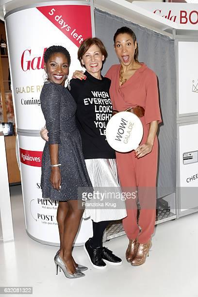 Nikeata Thompson Eva Lutz and Annabelle Mandeng attend the 'Gala' fashion brunch during the MercedesBenz Fashion Week Berlin A/W 2017 at Ellington...