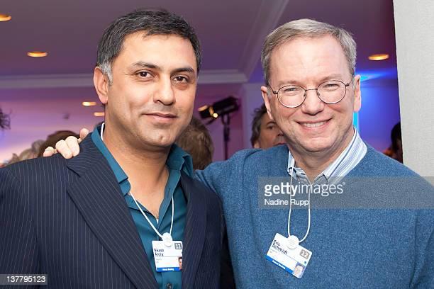 Nikesh Arora of Google and Executive Chairman of Google Inc Eric Schmidt attend the Burda DLD Nightcap 2011 at the Steigenberger Belvedere hotel on...