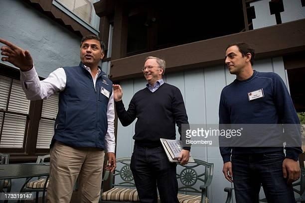 Nikesh Arora senior vice president and chief business officer of Google Inc left Eric Schmidt chairman of Google Inc center and Salar Kamangar chief...