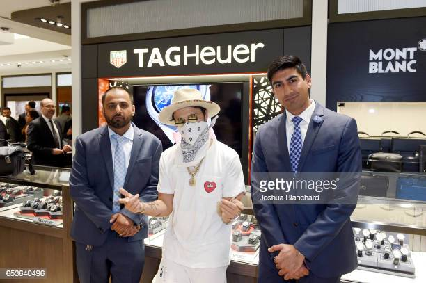 Nikhil Bhindi artist Alec Monopoly and Ashwin Bhindi attend TAG Heuer Connected Watch V2 Popup Store Inauguration at Bhindi's on March 15 2017 in...