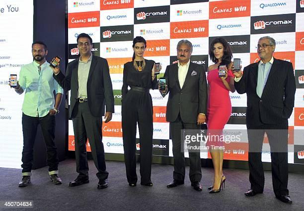 VJ Nikhil Chinnapa Avneesh Agarwal actress Diana Panty Sanjay Kapoor Archana Vijaya and Bhaskar Pramanik during the launch of Micromax Canvas Win...