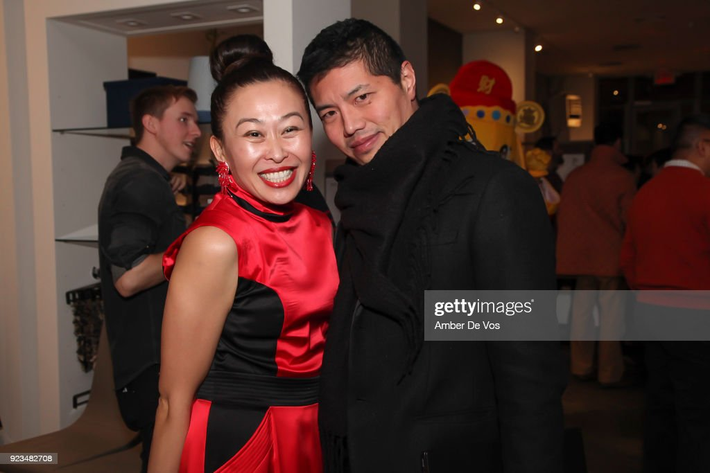 Niki Cheng and Calvin Yee attend New York Chinese New Year Celebration at Calligaris SoHo on February 13, 2018 in New York City.