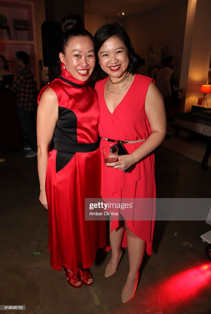 Niki Cheng and Joanne Kwong attend New York Chinese New Year Celebration at Calligaris SoHo on February 13, 2018 in New York City.