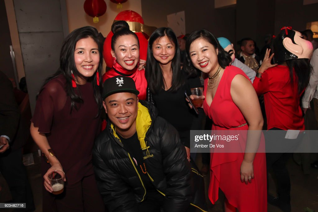 Niki Cheng, Helen Lee, Mae Tang, Joanne Kwong and Wilson Tang attend New York Chinese New Year Celebration at Calligaris SoHo on February 13, 2018 in New York City.