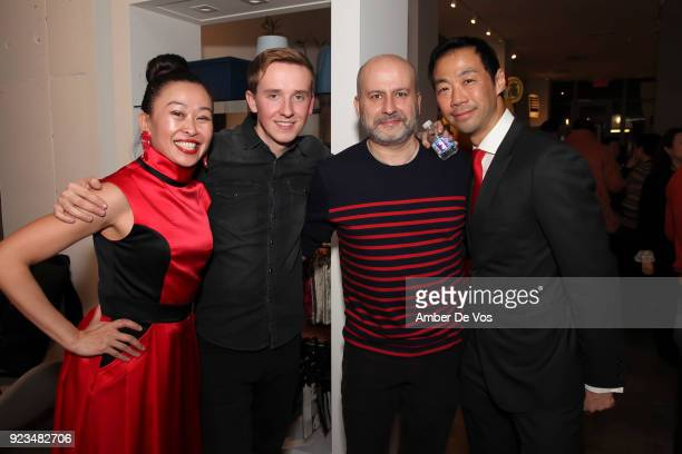 Niki Cheng, Lukas Pekarcik, Fabian Magris and Shaokao Cheng attend New York Chinese New Year Celebration at Calligaris SoHo on February 13, 2018 in...
