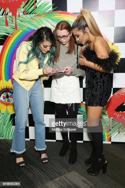 Niki DeMartino and Gabi DeMartino poses with fans at a Meet Greet during Beautycon Festival NYC 2018 Day 1 at Jacob Javits Center on April 21 2018 in...