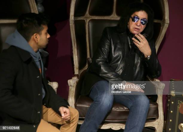 Niki Ghosh left talks with Kiss frontman Gene Simmons at City Winery in Boston on Feb 17 2018 Simmons was in town promoting The Vault a 10disc box...