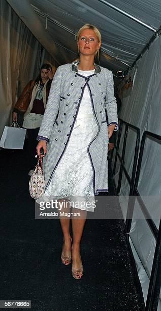 Niki Hilton arrives for the Luca Luca fashion show at Bryant Park February 7 2006 in New York City